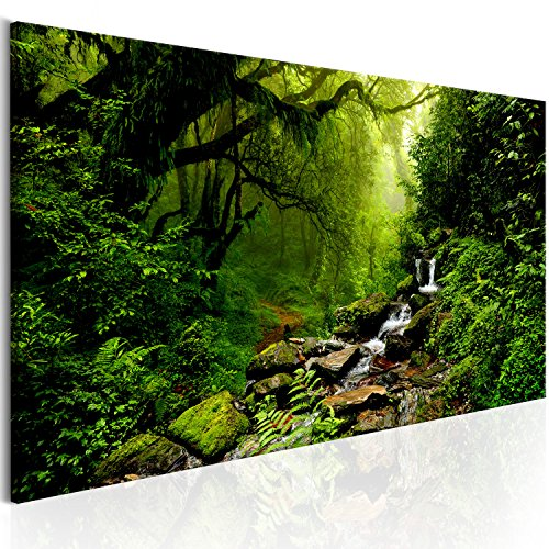 murando - Bilder Wald 135x45 cm - Leinwandbilder - Fertig Aufgespannt - Vlies Leinwand - 1 Teilig - Wandbilder XXL - Kunstdrucke - Wandbild - Waldlandschaft Natur Wald Panorama Baum c-B-0193-b-c