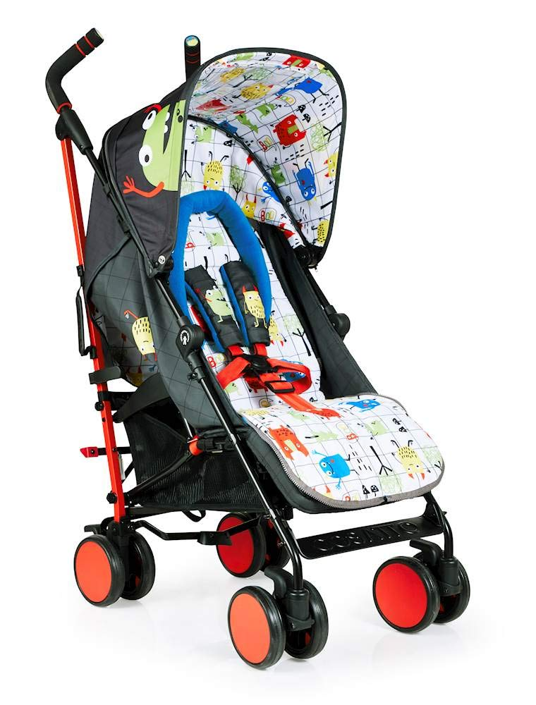 Cosatto Supa 2018 Baby Stroller, Suitable from Birth to 25 kg, Monster Mob Cosatto Suitable from birth up to 25 kg stroller; umbrella fold lightweight aluminium chassis with carry handle and folded free-standing feature For added comfort Supa 2018 has an integral upf100+ extended hood; one handed four position seat recline and adjustable calf support Supa 2018 has everything you need: Spacious storage basket, co-ordinating fleece lined footmuff, reversible washable liner, chest pads and recent born head hugger, rain cover and handy cup holder 5