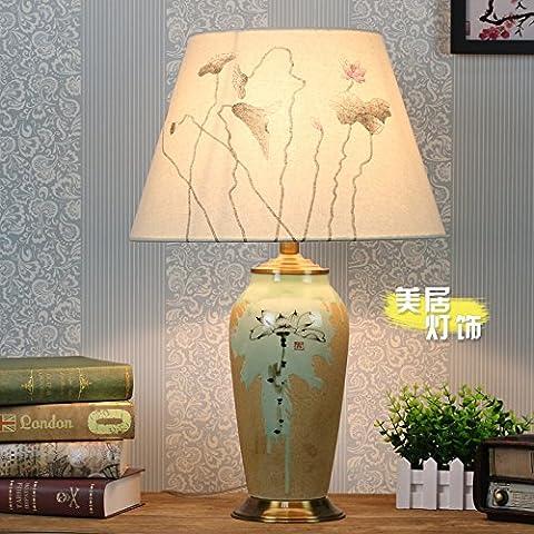 Lotus peint à la main en céramique décoration salon chambre chaude lampe de table lampe de chevet Lampe céramique américain chinois