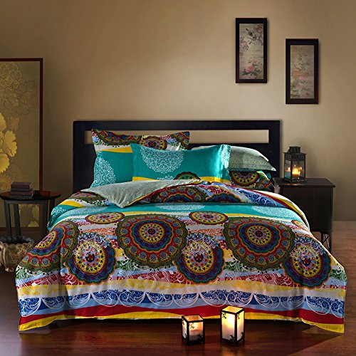 MeMoreCool Home Textile Bohemian Style 4 Pieces Bedding Set Classical Ethnic Cotton Twill Quilt Covers Set Boho Bed Sheets Seven Different Colors Optional
