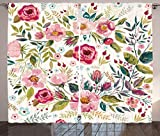 Floral Curtains by Ambesonne, Shabby Chic Flowers Roses Pedals Dots Leaves Buds Spring