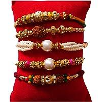 Magpie Different Pattern Pearl Beads Rudraksha Fabric Rakhi Set with Roli Chawal for Brother Bhaiya Bhabhi (Multicolour) - Pack of 5 Rakhis