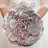 Fouriding Bouquet de Lujo Nupcial de la Boda Ramo de Flores Rose Ribbon Con Cuentas Rhinestone Decoración Del Hogar Suministros de la Boda Rosa