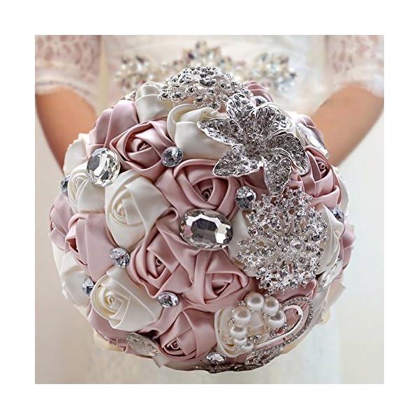 Fouriding – Ramo nupcial lujoso con perlas de estrás, decoración artesanal para la boda