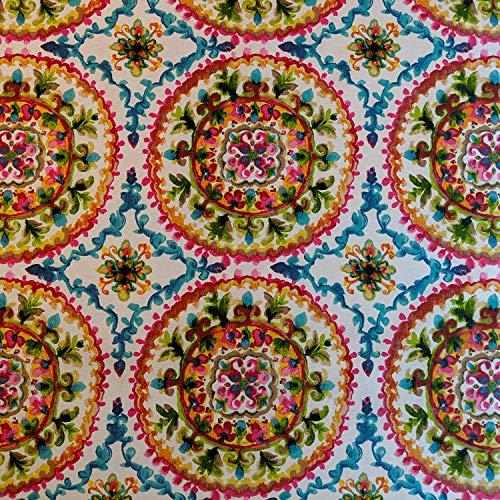 Lifestyle-blumen-kissen (Stoff mit marokkanischen Blumen und Dashiki-Mustern, Baumwollanteil, Leinenoptik, für Vorhänge, Vorhänge, Basteln, Quilten, Patchwork und Polstermöbel, 140 cm breit, Meterware)