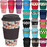 LS Design Öko Coffee to Go Kaffe Tee Becher Bamboo Bambus Cup Retro Braun Bunt