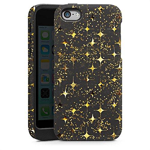 Apple iPhone 4 Housse Étui Silicone Coque Protection Or Paillettes Étoiles Cas Tough brillant