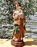Sehr grosse ÖLBAUM - Handbemalte SEHR GROßE MADONNA, Heilige Maria, madonna immaculata Mutter Gottes mit Jesus, Marienfigur / Marienstatue, Statue mit rotem Kleid und blauem Mantel als Symbol von Unschuld und unbefleckter Empfängnis - alle ÖLBAUM HEILIGEN- und Krippenfiguren zeichnen sich durch extrem sauber gearbeitete und präzise Gesichtszüge der Figuren aus, coloriertes Holzfiguren- bzw. Echtholzimitat, schlanke Form, standfeste Figuren, mit Sockel braun