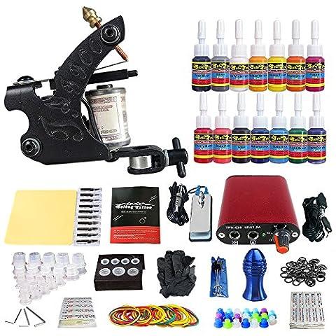 Solong Tattoo® Kit de Tatouage Complète 1 Machine à Tatouer Professionnelle 14 Encres Power Supply Aiguille de Tatouage Tattoo Kit Set TK101