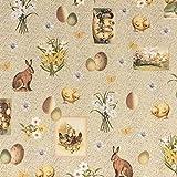 Baumwollstoff Stoff Dekostoff Digitaldruck Ostern Hase