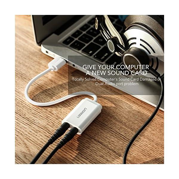 UGREEN Scheda Audio USB Esterna, Adattatore Audio USB a 3.5mm Audio Stereo Jack per Cuffie, Microfono, Altoparlante, Scheda Audio e Microfono Compatibile con Windows 10/8.1/8/7/Vista/XP, Mac OS X, Linux, Windows Surface 3 pro, Raspberry Pi, PS4, Plug and Play, Cavo lungo 15cm