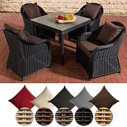 CLP Gartengarnitur SAN JUAN XL | Gartenmöbel-Set aus Polyrattan | Komplett-Set mit 4 Gartensesseln und einem Esstisch | In verschiedenen Farben erhältlich Rattanfarbe: Schwarz, Kissenfarbe: Terrabraun