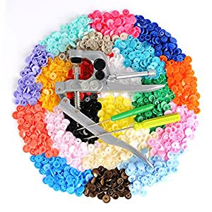 LIHAO Snap Pliers + 300 Set T5 Plastic Buttons Fastener 20 Colors Poppers for DIY Studs