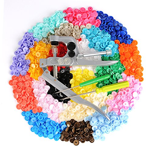 LIHAO Snap Pliers + 300 Set T5 Plastic Buttons Fastener 20 Colors Poppers for DIY Studs Test
