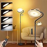 Lampadaire sur Pied Salon, 27W + 7W Dimmable Lampadaire LED, 4 Températures de Couleur, Télécommande et Commande Tactile, aju