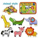 BBLIKE Holzpuzzle Jigsaw, Cartoon Holzpuzzle Spielzeug Kinder kreative frühkindliche Bildung (Wilde Tiere)