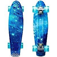 LISOPO Mini Cruiser Skateboard, 22''55cm Mini Skateboard Tavola Robusta, 4 PU Ruote Trasparenti Cuscinetto ABEC-7 per…