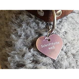 Gravuren.store 2 Stück Hunde-Katzenmarke Herz, Adressanhänger aus Aluminium, (36mm X 35mm L, Rose)