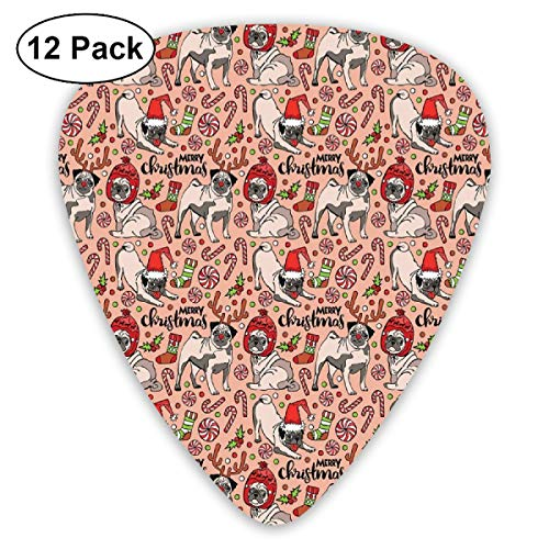 Guitar Picks - Abstract Art Colorful Designs,Merry Christmas Dogs Celebrating The Holiday Comedy Image Antlers Hats Candy Cones,Unique Guitar Gift,For Bass Electric & Acoustic Guitars-12 Pack -