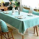 CzJoy Tischdecke Rechteckig Eckig Abwaschbar Baumwolle Leinen Tischdecken für Küche Restaurant Cafe Hochzeit Geburtstag Picknick Outdoor,Türkis,140x220cm