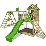 FATMOOSE Stelzenhaus RockyRanch Roll XXL Kletterturm mit schwingendem Surfbrett Spielturm Spielhaus auf Podest mit Veranda Schaukel Rutsche Kletterleiter und großem Sandkasten
