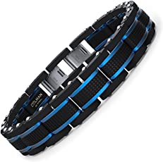 COOLMAN Schmuck Herren Armbänder Edelstahl Blaue Schwarze Justierbare 19-23 cm (mit Marken-Geschenk-Kasten)