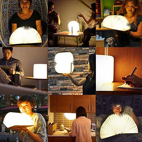 Lampada da tavolo a libro pieghevole in legno, batterie ricaricabili al litio ricaricabili da 2500 mAh USB ricaricabile da tavolo Lampada da tavolo per arredo, nuovo regalo di compleanno per donna - 7