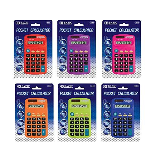 Bazic 8-stelliges Dual Power Pocket Größe Taschenrechner (Farbe kann abweichen) Bazic 8 Digit Pocket