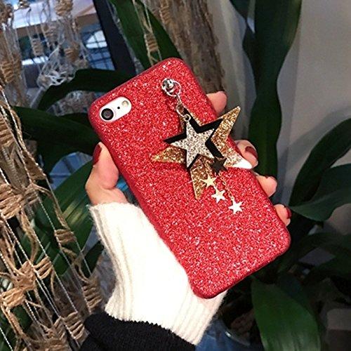 Glitter Powder Soft TPU Schutzhülle mit Star Pandent für iPhone 7 by diebelleu ( Color : Black ) Red