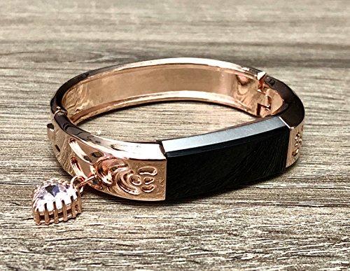 Rose Gold-Band, für Fitbit Alta & Alta HR Fitness Tracker Einzigartige Blumen Design Jewelry Armreif Fitbit Alta/Alta HR Handgefertigtes Armband mit Rose Gold Herz Love Charm