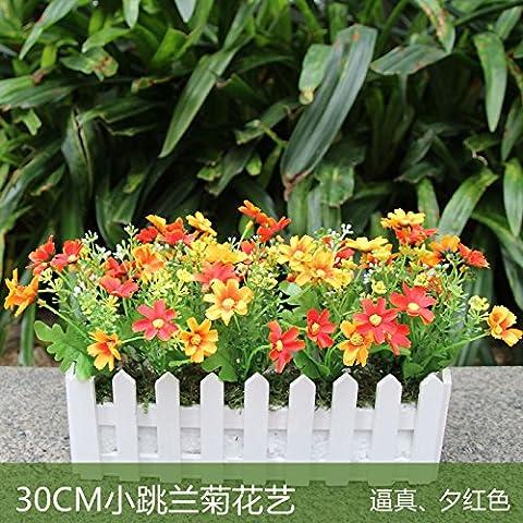 SYHOME Künstliche Blumen Pflanzen Zaun silk Blume Blume modernen minimalistischen modernen minimalistischen Stil Balkon Decorationation Orange Daisy-Chained