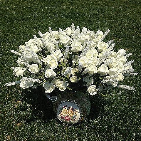 Kicode Lavendel-Rosen-Blumen Vintage Silk künstlich Hochzeitsdeko Brautstrauß Hotels DIY Fertigkeit 48cm / 18.90''Lenth