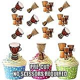 Bongo Drums Essbar Stand-up Cupcake Topper (Pack von 12)