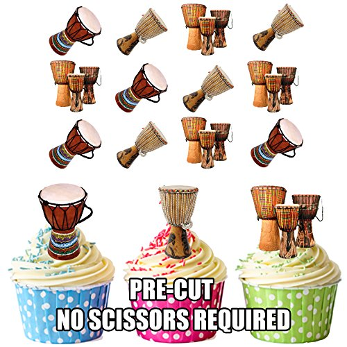 Bongo Drums Essbar Stand-up Cupcake Topper (Pack von 12) (Toppers Cupcake Drum)