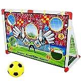 Dominiti e.K. 2in1 Torwand für Innen, mit Netz Fußball Tor mit Ball, Fussball Spielen für Kinder Kinderzimmer