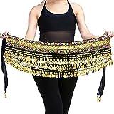 YouPue Flanella gonna danza del ventre dell'anca sciarpa con le monete di oro cintura gioiello colorato 251 centimetri Nero