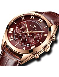 Mens Chronograph Watches Men Waterproof Sport Date Calendar Luxury Fashion Counts Analogue Quartz Wrist Watch Gents Multifunction Casual Business Dress Watches with Brown Dial Leather Strap