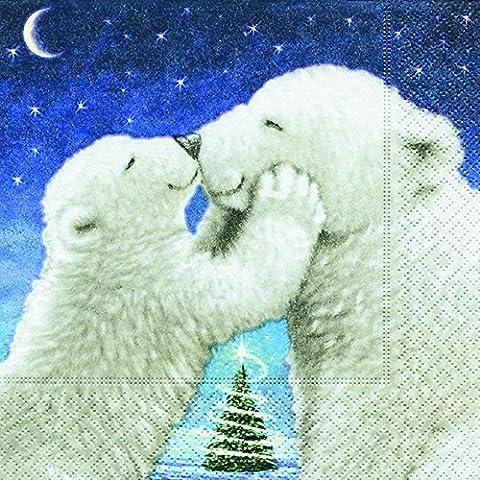 Lunch Serviettes 33x 33cm (Polar Bear Kiss) Ours Polaire Blanc Baiser Noël hiver neige animaux forêt Bonhomme de neige Merry