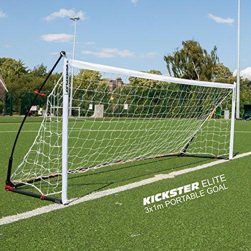 QUICKPLAY Kickster Elite Kickster Elite Cage de Foot Professionnelle 3 x 1M - Ultra Portable en Salle et De Plein Air But de Football Dispose d'une Base pondérée [Unique]
