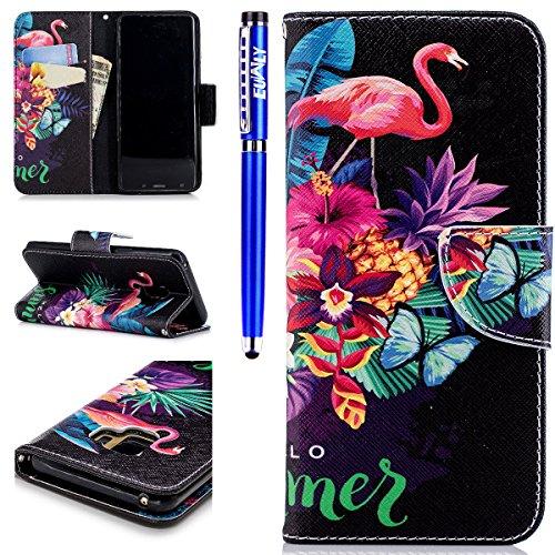 EUWLY Lederhülle Samsung Galaxy S9 Ledertasche Handytasche Tasche Wallet Hülle im Bookstyle Handyhülle Bunte PU Leder Flip Tasche Case Brieftasche Schutzhülle Kartenfächer,Flamingo Butterfly -