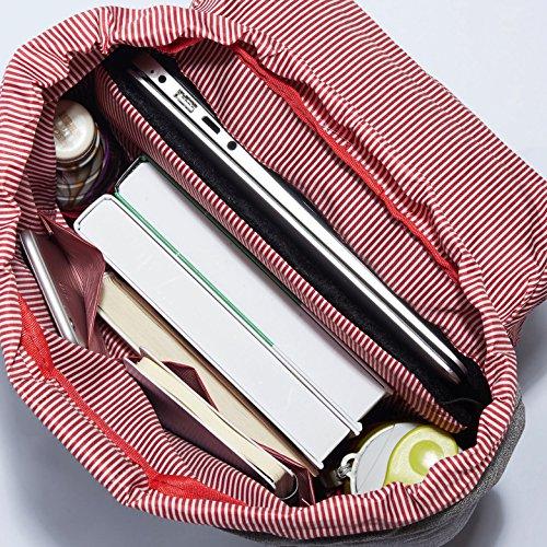 """Rucksack Damen Herren Vintage KAUKKO Reiserucksack Studenten Rucksack Laptop Rucksack für 14"""" Notebook Lässiger Daypacks Schultaschen of 2 Side Pockets für Wandern Reisen Camping (7BLACK) grau09"""