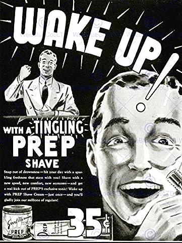 ADVERT SHAVE PREP BATHROOM BLACK WHITE RAZOR WAKE UP 30X40 CMS FINE ART PRINT. AFFICHE. IMPRIMER ART POSTER BB7105
