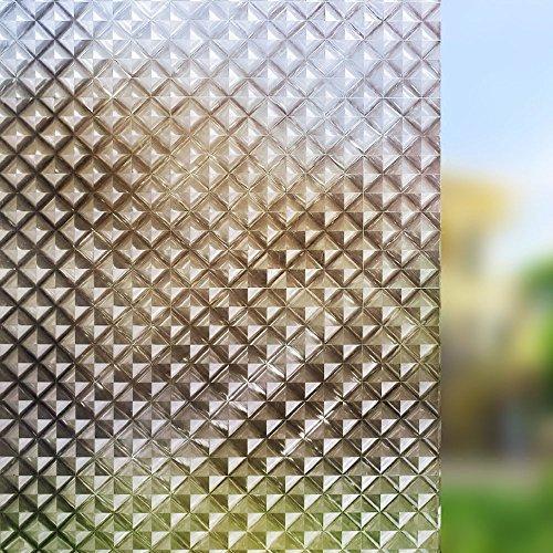 PVCOLL Fensteraufkleber Fensterfolien Glue-Free Elektrostatische Glasfolie-14 Privatsphäre Trennwand Badezimmer Fensteraufkleber Glasmalerei Film Sonnenschutz Sonnenschutz, 200X45Cm