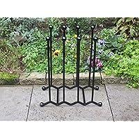 Wrought-Iron-Wellington-Boot-Rack- 4-Pairs Zigzag Black