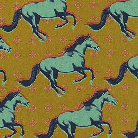 Tela di cotone, motivo tessuto di cotone, in acciaio, 0,5 m, colore: blu Cavalli di foglia di CS01 & colore: arancione colore giallo senape tessuto Mustang Miller Collection by Melody, 50 x 100 cm
