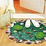 Weaeo Wasserdicht 3D Fischteichen Lotus Fußbodenbeläge Kunst Aufkleber Für Wohnzimmer Home Dekorationen Badezimmer Pvc Wandbild Art Poster