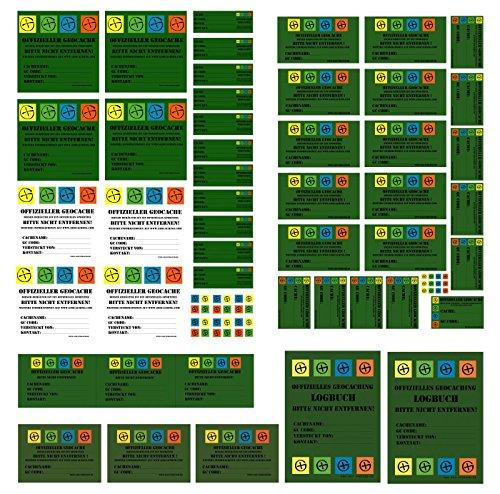 56 Geocaching Aufkleber Set Petlinge Filmdosen LOCK&LOCK Dosen Logbücher Hinweis Stashnote Finderhinweis Sticker - Gps-lock