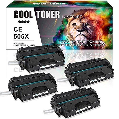 Cool Toner 6500 Pages compatible para CE505X 05X cartucho de Toner Compatible para HP LaserJet P2055 P2055D P2055DN P2055X,Negro, 4-Pack