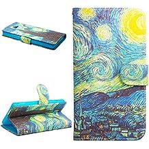 Dokpav® Sony xperia M2 Funda,Ultra Slim Delgado Flip PU Cuero Cover Case para Sony xperia M2 con Interiores Slip compartimentos para tarjetas-estrella