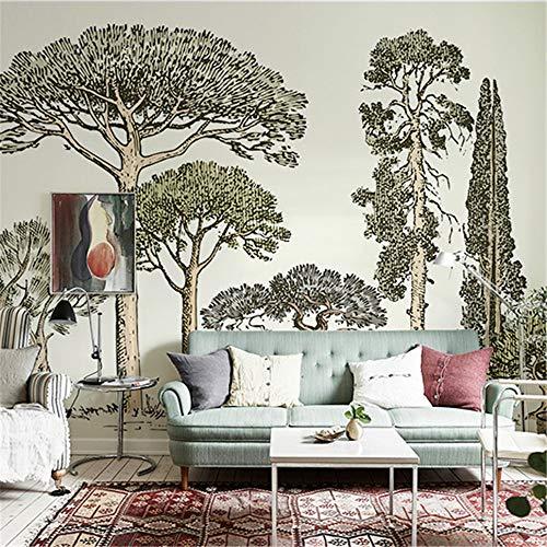 WEMUR Nordic Französisch Stil Hand bemalte große Baum Tapete Wandbild Tapete Wohnzimmer Wallpaper TV Hintergrund Wand zu Karte, 350X245 CM (137.8 By 96.5 In) -